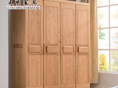 光明家具 卧室家具北欧全实木四门大衣柜