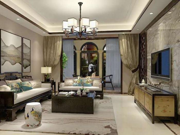 中式古典-103.12平米三居室-装修样板间