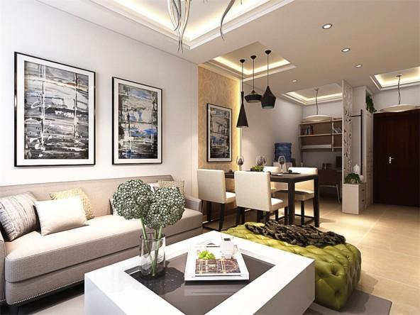 北京象博豪庭混搭风格二居室装修效果图_91平米4万-房