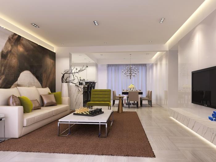 简欧风格-95.86平米二居室-装修样板间