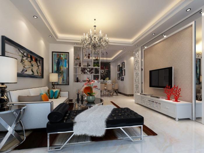 现代简约-84平米二居室-装修样板间