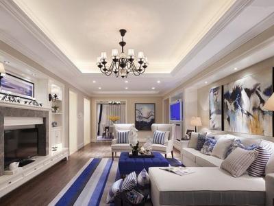 地中海风格-128.86平米三居室装修样板间