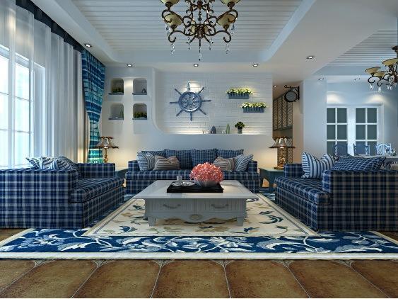 地中海风格-97平米二居室-装修样板间