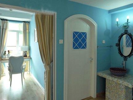 地中海风格三居室书房飘窗装修效果图欣赏