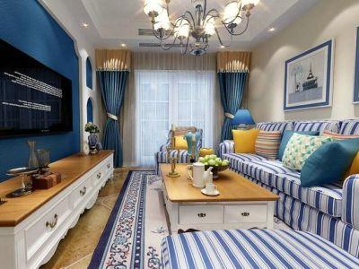 地中海风格-88平米三居室装修样板间