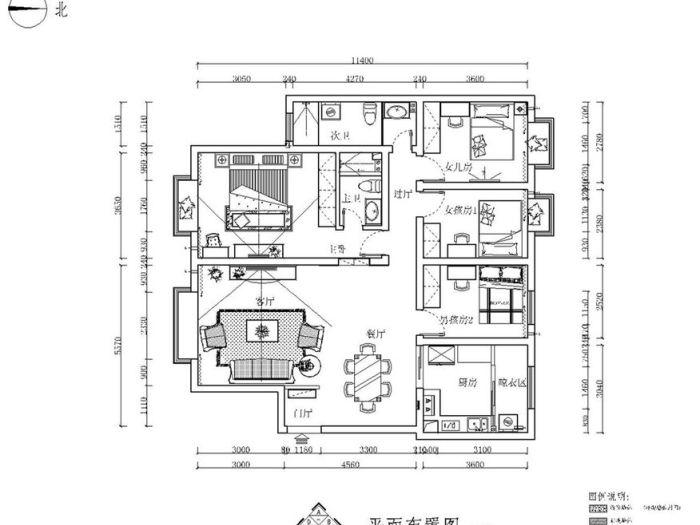 简欧风格-119平米三居室-装修样板间