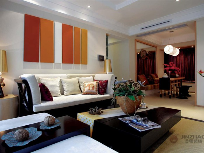 东南亚风格-176平米三居室-装修样板间
