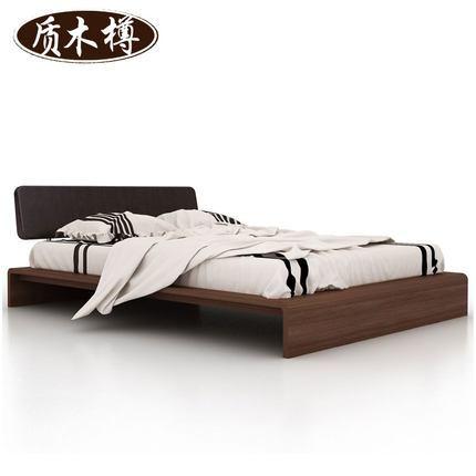 韩式实木床真皮软靠榻榻米1.5m床胡桃木色双人床卧室家具婚床