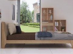 简约现代 实木床 1.8米婚床 卧室家具棉麻软靠实木床