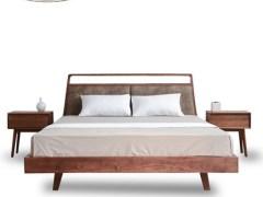 简约现代 实木床 1.8米1.5m双人床北美胡桃木婚床 卧室