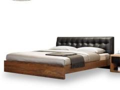 简约现代中式真皮软靠实木床卧室家具进口白蜡木双人婚床
