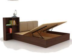 简约现代卧室家具实木高箱床可储物软靠床头可调节床头带书架