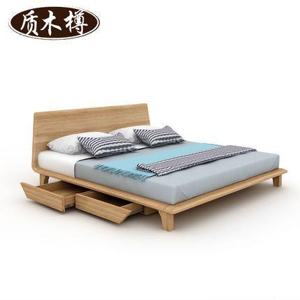 简约现代实木床 1.8米双人床 1.5m抽屉储物婚床 卧室家