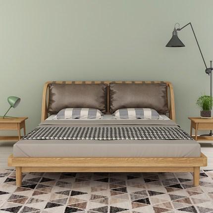 现代简约北欧实木床 1.8米双人床1.5m软靠床 卧室家具婚