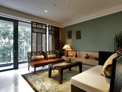 东南亚风格-93平米三居室装修样板间