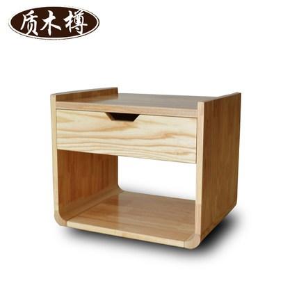 韩式白蜡木时尚沙发边小茶几卧室圆型实木床头柜个性置物边几