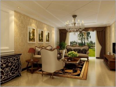 欧美风情-111平米三居室装修样板间