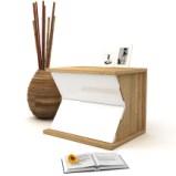 实木 床头柜 简约北欧卧室家具两斗柜 白蜡木收纳柜 白色床边