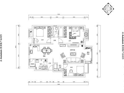 欧美风情-128平米三居室装修样板间