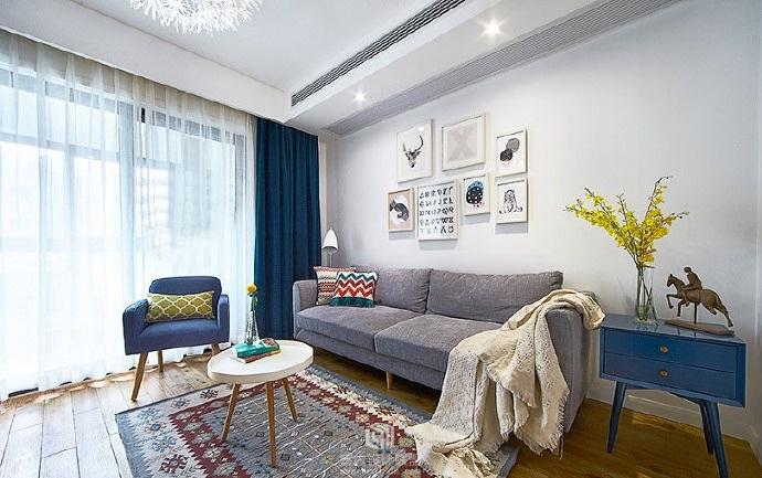 地中海风格-90.27平米二居室-装修样板间
