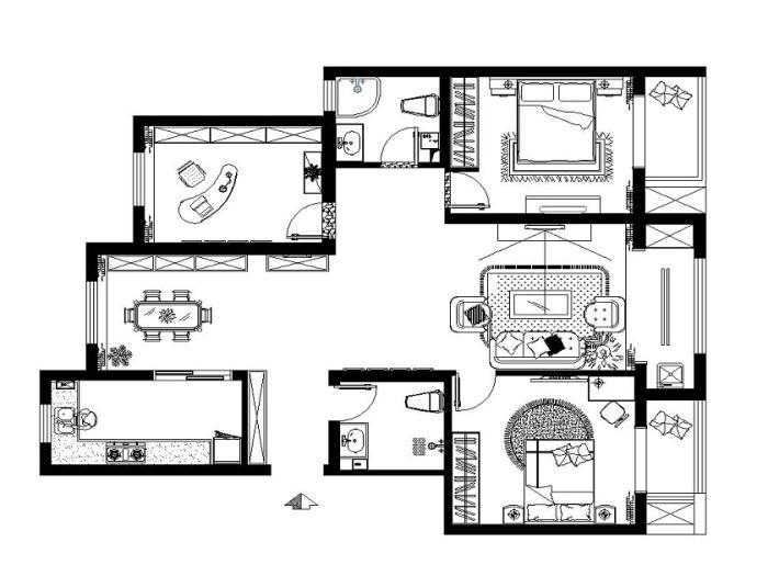 现代简约-131平米三居室-装修样板间