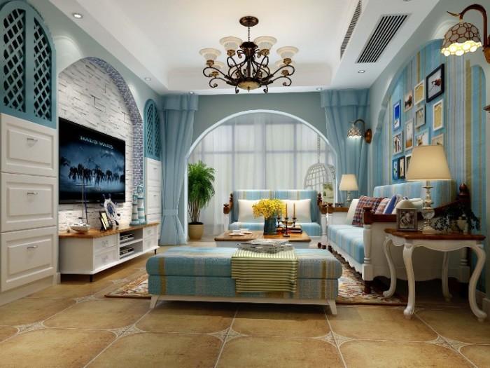 地中海风格-75平米二居室-装修样板间