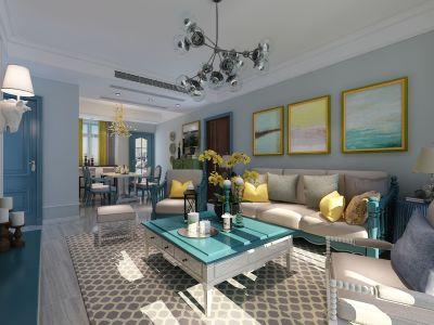 美式风格-90平米二居室装修样板间
