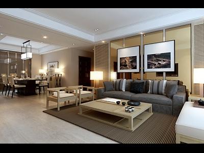 日韩风格-118平米三居室装修样板间