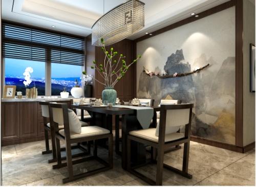 德润天玺新中式风格家庭装修设计案例 影视墙,采用了凹凸造型的硬包图片