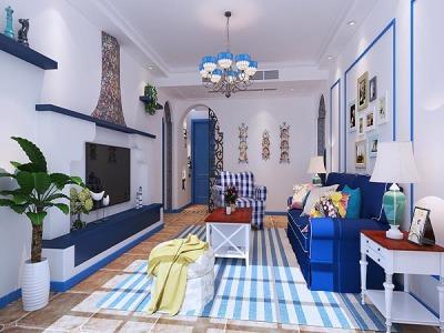 地中海风格-86平米三居室装修样板间