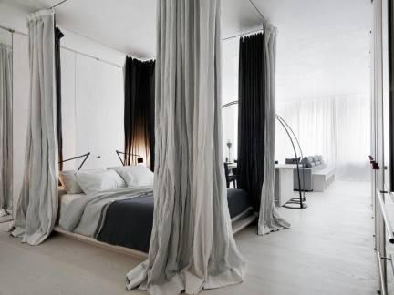 纯净舒适北欧风格灰色系卧室效果图