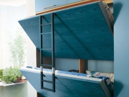欧式风格卧室蓝色组合柜形式的上下双用床效果图