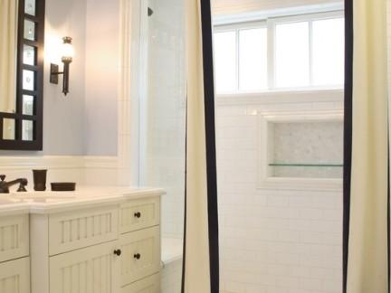 奢华美式卫生间淋浴间白色墙面瓷砖图片欣赏