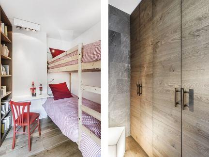 现代小型儿童房米色实木上下床装修设计