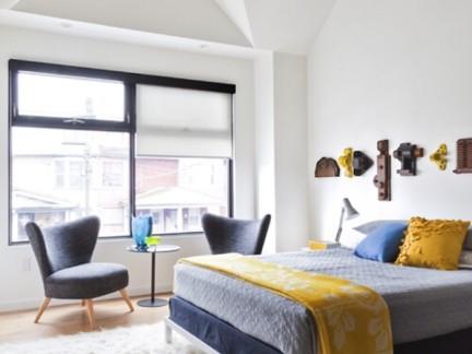 简约风格卧室白色毛绒地毯效果图