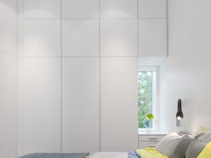简约现代风格卧室白色大衣柜设计效果图
