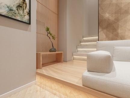 简约日式风格客厅白色楼梯设计效果图