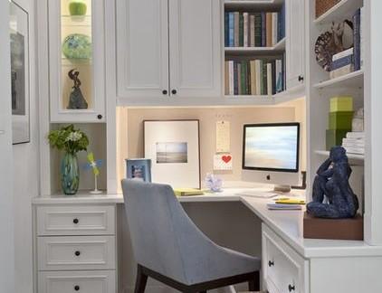 简约风格室内书房配白色书桌装修效果图