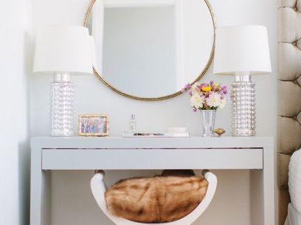 简欧风格卧室设计配白色梳妆台装修效果图