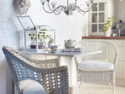 创意田园风格白色餐桌实景图
