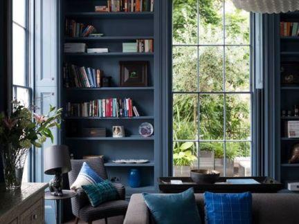 简欧风格客厅蓝色书柜效果图