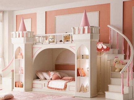 欧式风格儿童房上下架白色床设计图