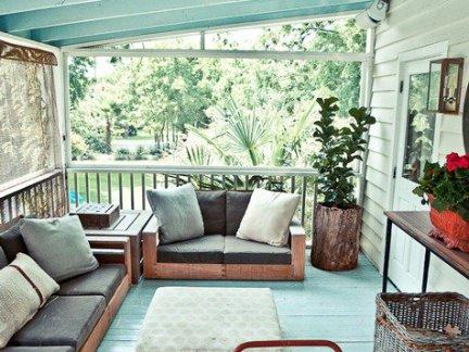 别墅地中海风格阳台原木色沙发效果图欣赏