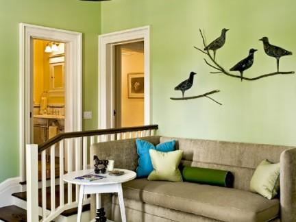 自然美式客厅白色小型圆形茶几装修设计