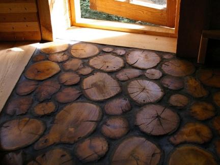 创意设计客厅原木色隐形门效果图