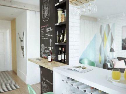 简约小清新风格厨房白色吧台装修效果图