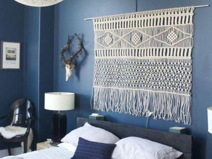 典雅时尚地中海风格卧室蓝色背景墙效果图大全