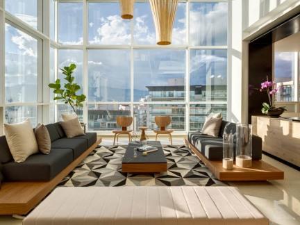 奢华现代公寓客厅原木色家具装修设计