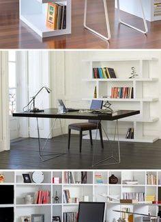 简约风格书房白色书柜图集欣赏