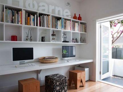 现代简约书房白色长型书桌装修设计